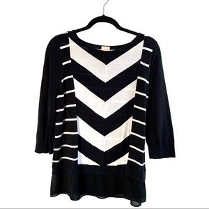 Chico's Black White Lightweight Sweater